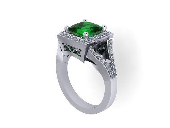 Emerald Engagement Ring Princess Cut Diamond Engagement Ring 14K White ...