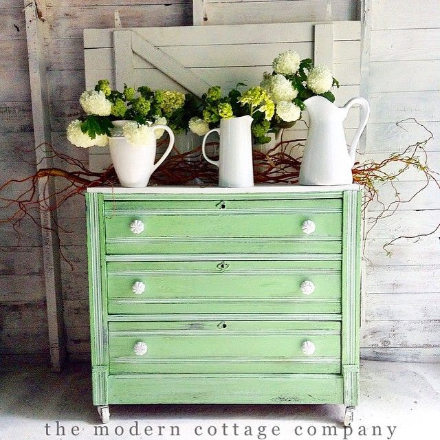 Dresser Painted In General Finishes Milk Paint Custom Mix Snow White And  Emerald. The Modern Cottage Company