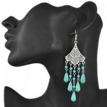 Pair of Ethnic Turquoise Tassel Earrings For Women U213-134072701
