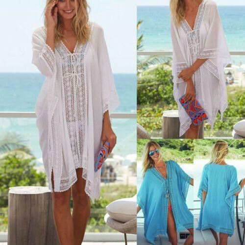 Fashion Women Ladies Solid Sarong Beach Wear Lace Crochet Swimwear Mini Dress Bi…