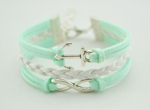 Mint Green Anchor Infinity Bracelet