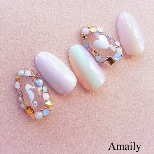 Amaily Japanese Nail Art Sticker / Sea Aurora Mermaid Nails