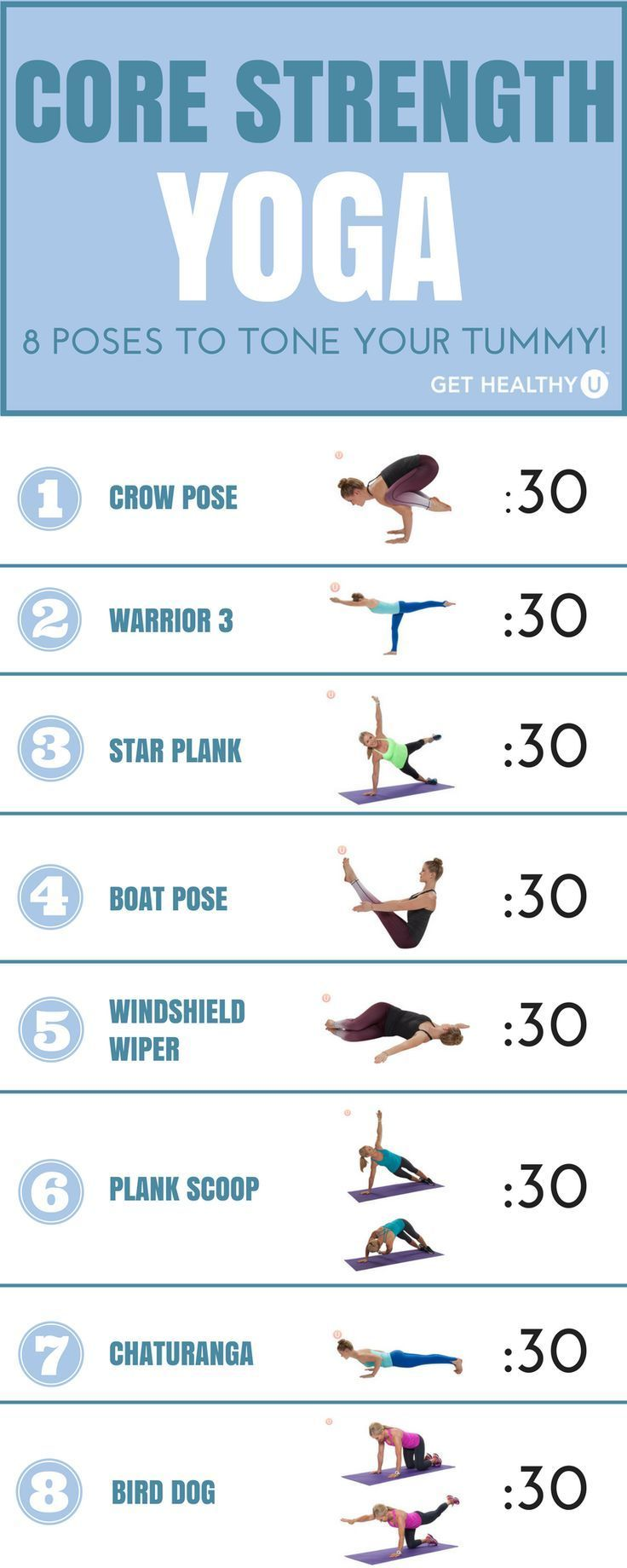 We've pulled out 8 of our favorite yoga poses that emphasize core strength and brought them to you here for your own practice. Try them out one at a time, holding each for 30 seconds. Go through the entire sequence twice; for moves that are one-sided, do one side the first time through and the other side the second time through. Once you have these down, try these and few other core poses in our  6-Minute Yoga For Better Abs workout! This a great postpartum workout too!