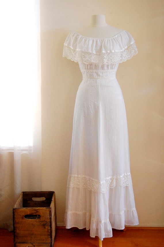 vintage hippie bohemian wedding dress with lace by richellephant,