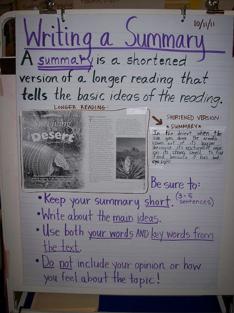 Great anchor chart for Summarizing. This 4th grade teacher has a ton of good ideas!