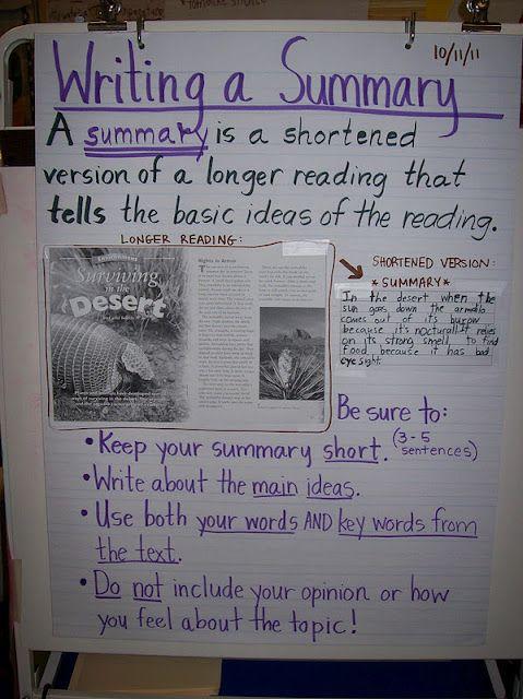 Great anchor chart for Summarizing. This 4th grade teacher has a ton of good ideas!