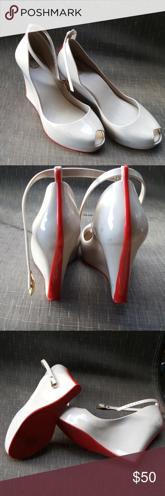 Wedge heels Melissa Patchuli  wedge heels. Beige color. Used. Made in Brazil. Red bottom. Melissa Patuchi Shoes Heels