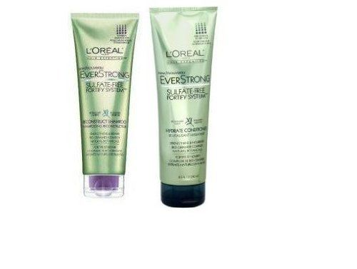 L'Oreal Paris EverStrong Hydrate Shampoo & Conditioner, 8.5-Fluid Ounce by L'Oreal Paris. $10.04. 100% vegan. Bio-ceramide complex. 100% sulfate-free with natural botanicals and no harsh salts. L'Oreal Paris EverStrong Hydrate Shampoo & Conditioner. L'oreal LOreal Hair Expertise LOreal Everstrong Hydrate Hair Shampoo Rosemary,  8.5 oz, UPC:071249175446. Introducing formulas so gentle, yet so strengthening. Free of harsh sulfates, the EverStrong Sulfate-Free Fo...