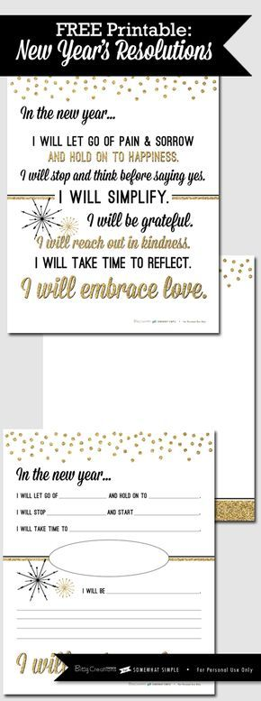 Free Printable: New Years Resolution