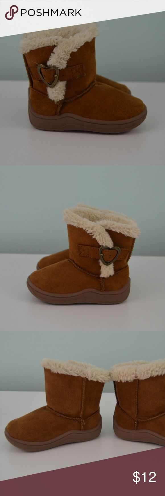 """Garanimals Faux Suede Fuzzy Boots Baby Girl Size 3 Garanimals faux suede/fur boots. Toddler/baby girl size 3. Heart buckle detail at side. Faux suede material is a brown shade and faux fur material is a cream shade. Condition - Pre-owned. Light scuffs/marks from wear. See pictures. Smoke free home. Measures approx. 5"""" from heel to toe on the bottom of the shoe/sole (the part that will be in contact with the ground). Garanimals Shoes Boots"""