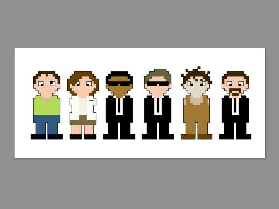 Men In Black Pixel People Character Cross by CheekySharkLabs