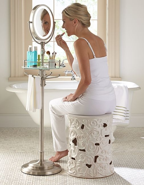 Cordless LED Floor Stand Mirror - Brighten your morning beauty routine with a portable LED-lighted floor mirror that lights up your whole area. The battery-powered Cordless LED Floor Stand Mirror is completely cordless, so you can use it anywhere. And, it's height adjustable, so you can use it seated or standing. With...