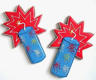 Firecrackers / Fireworks Decorated Iced Sugar Cookies - For all your cake decorating supplies, please visit craftcompany.co.uk