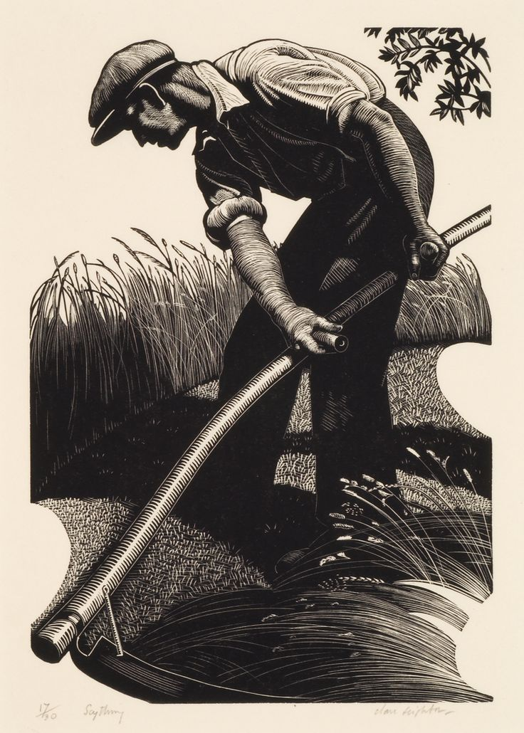 CLARE LEIGHTON.   Scything, 1935  Wood engraving, 6 7/8 x 4 ¾ inches