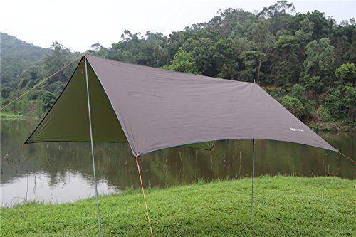 NatureFun 3*3m Rain Shelter Tarp,Rain Fly,Dry Fly,Tent Shelter,Portable Lightweight Waterproof for Camping and Snow Protection with Guy Line and Stake Kit