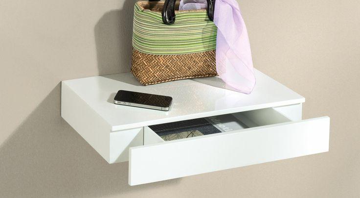 CASSETO Wandregal mit Schublade | 45x25x8 cm | weiß hochglanz
