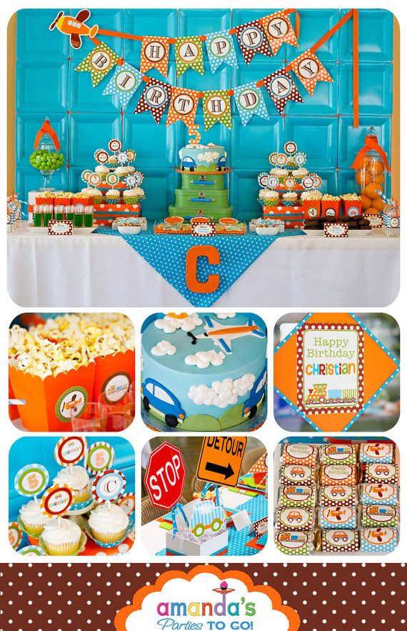 Transportation - Cars, Trains, Planes Party Printables - Huge Party Set by Amanda's Parties TO GO. $29.00, via Etsy.