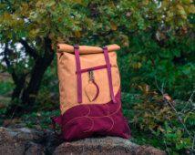 Leaf Roll Top sac à dos, sac à dos pour ordinateur portable sac à dos, sac à dos Boho Cordura sac à dos, sac d'école, Hipster sac à dos imperméable à l'eau