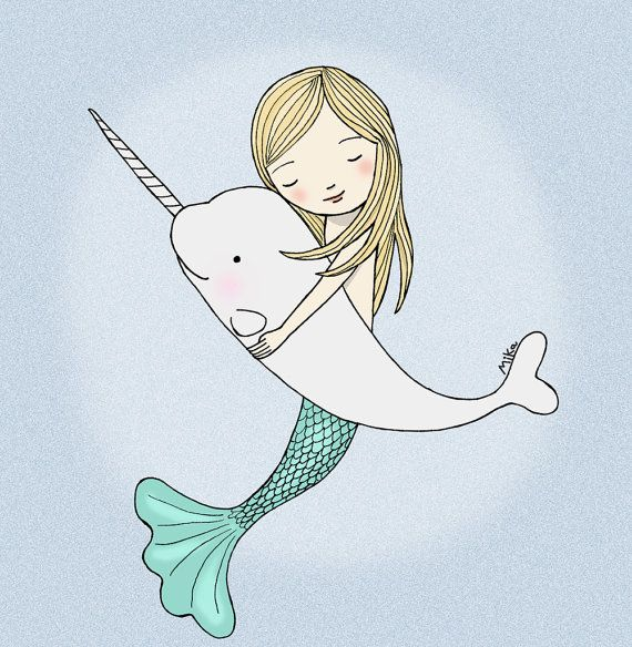 Mermaid Narwhal Illustration Print Instant Download Nursery Art Nautical Love Illustration Pastel Grey Tourquoise Printable Home Wall Decor