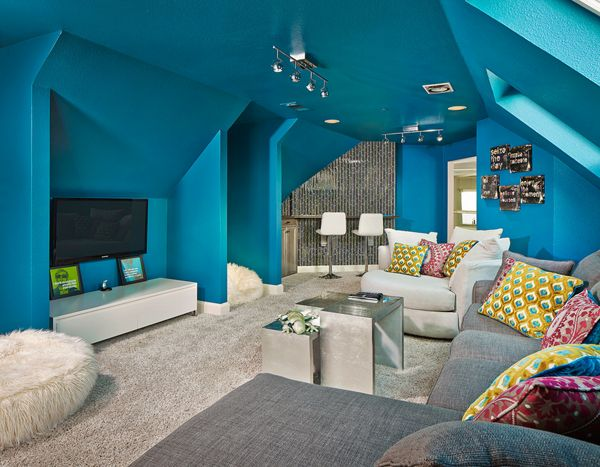 Cool Teen Hangouts And Lounges... Click for more.  Love the wall and ceiling being same color.   Cowboys blue maybe (not too dark)