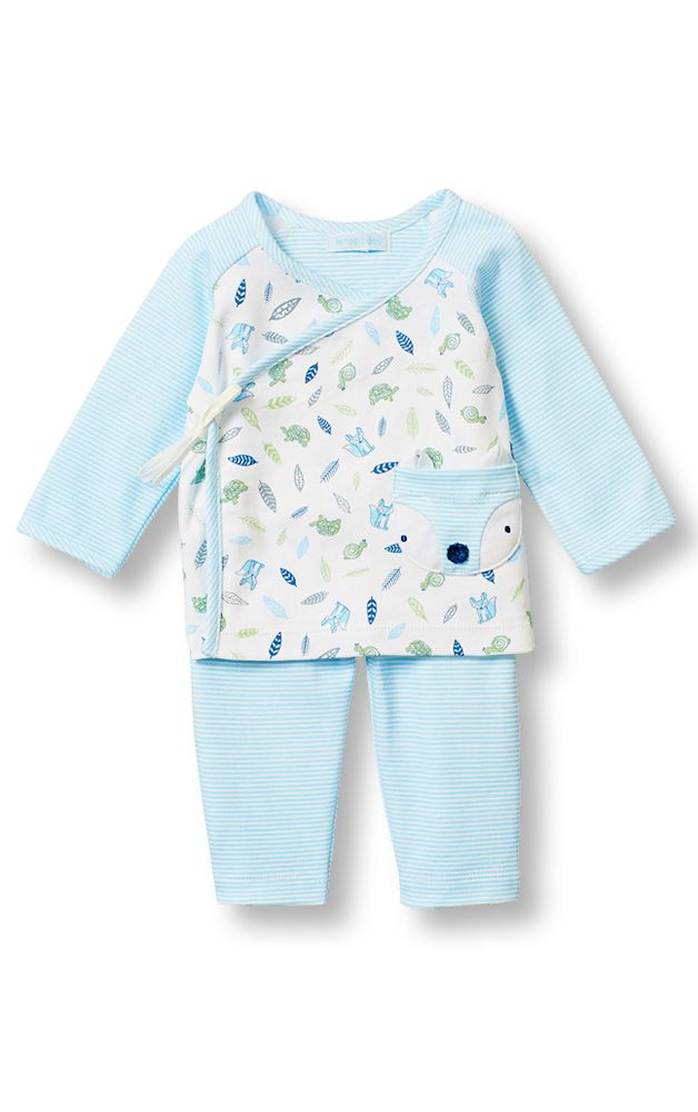 Le Top Baby 'Little Fox' Sacque Shirt and Stripe Pant with Little Fox Pocket