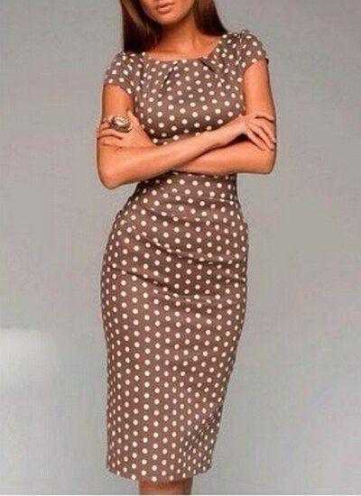Polka Dot Print Stylish Scoop Neck Short Sleeve Dress | www.sammydress.com