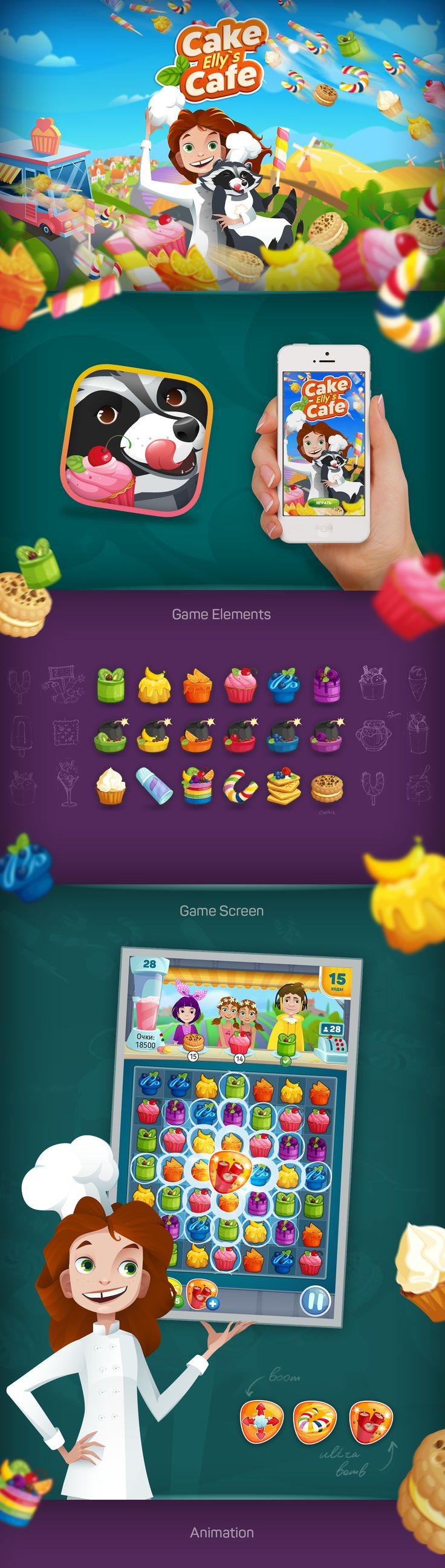 Elly's Cake Cafe (match three game) on Behance