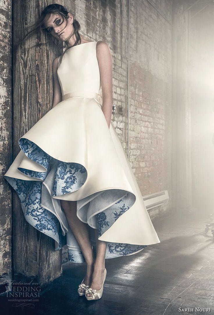 sareh nouri fall 2018 bridal sleeveless bateau neckline simple clean unique chic pretty high low short wedding dress with pockets covered back (1) mv -- Sareh Nouri Fall 2018 Wedding Dresses