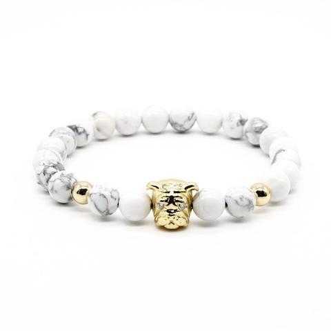 LIMITED EDITION. Gold Plated Pug Buddha Unisex Bracelets With White Turquoise Stone Beads