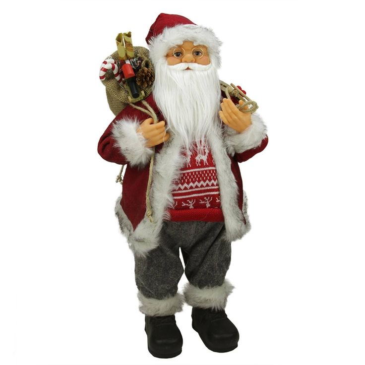 """24"""" Simple Country Standing Santa Claus Christmas Figure with Snow Sled and Gift Bag"""