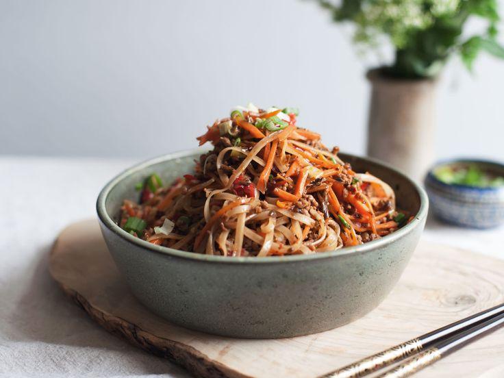 Sichuan rice noodle and pork stir fry - Recipes - Kitchen ...