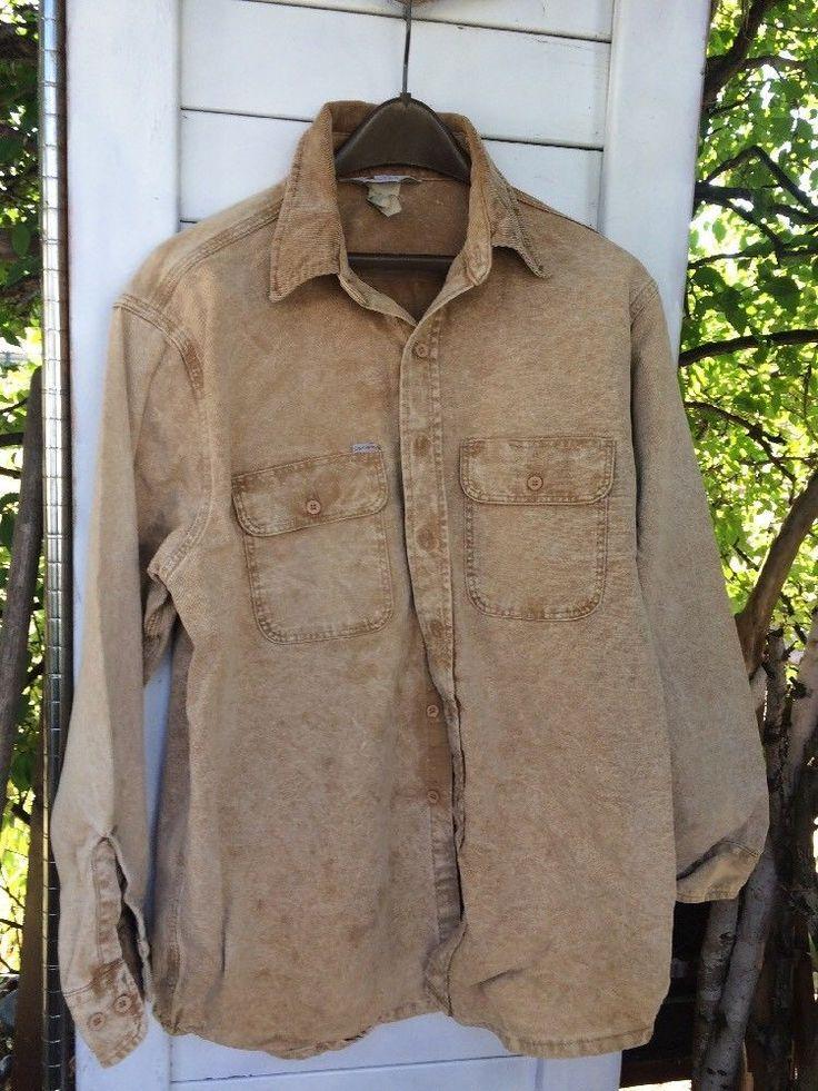 Carhartt Shirt XL Rugged Outdoors Long Sleeve Reg Kakhi Distressed #Carhartt #ButtonFront