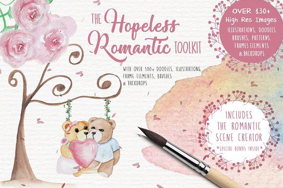 The Hopeless Romantic Toolkit is currently on sale on Creative Market. With over 130+ high res images of cute bear illustrations, romantic scene creator, backdrops, doodles, frame elements, patterns and brushes. Grab yours now and create amazing romantic cards in minutes! ❤️❤️❤️ #creativemarket #weddinginvitations #savethedate #rsvp #thankyou #card #weddingsuite #wedding #marriage #watercolor #watercolorflowers #handpainted #handpaintedesigns #watercolorflorals #prin