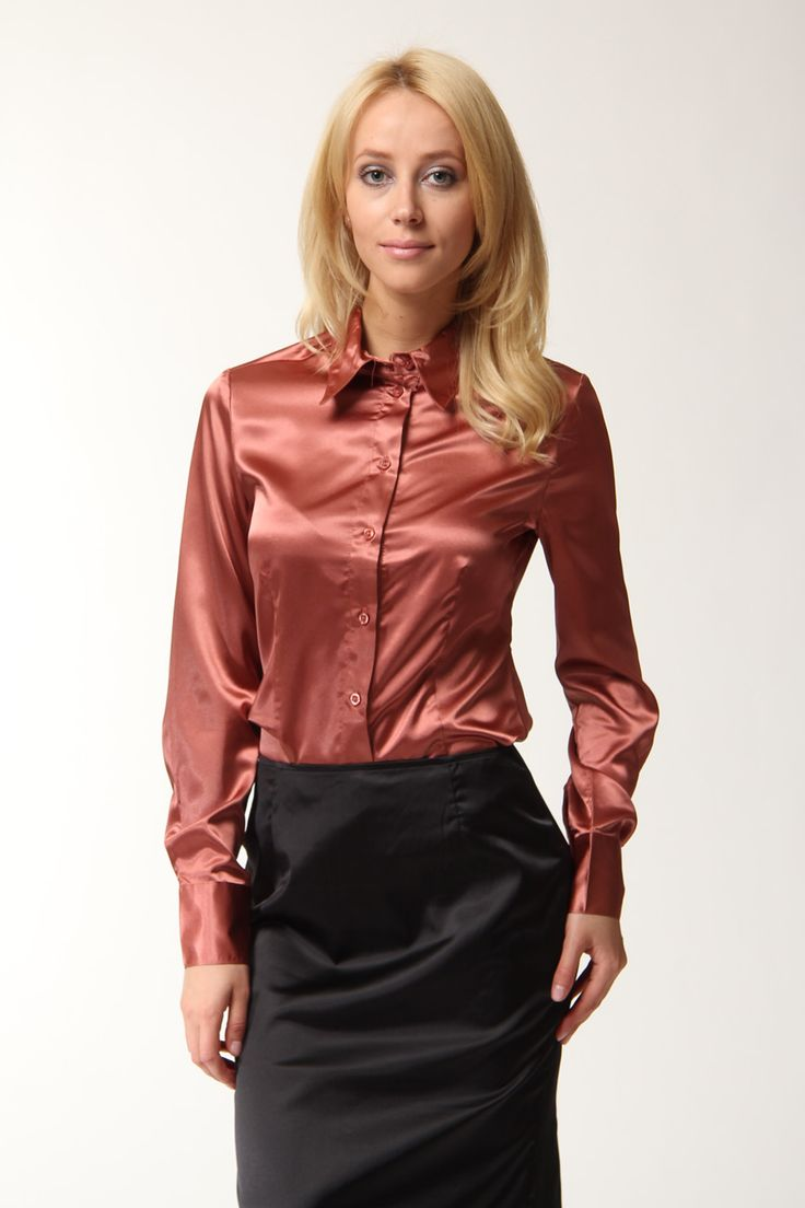women in satin blouse | Womens Blouses | Pinterest | Satin, Satin ...