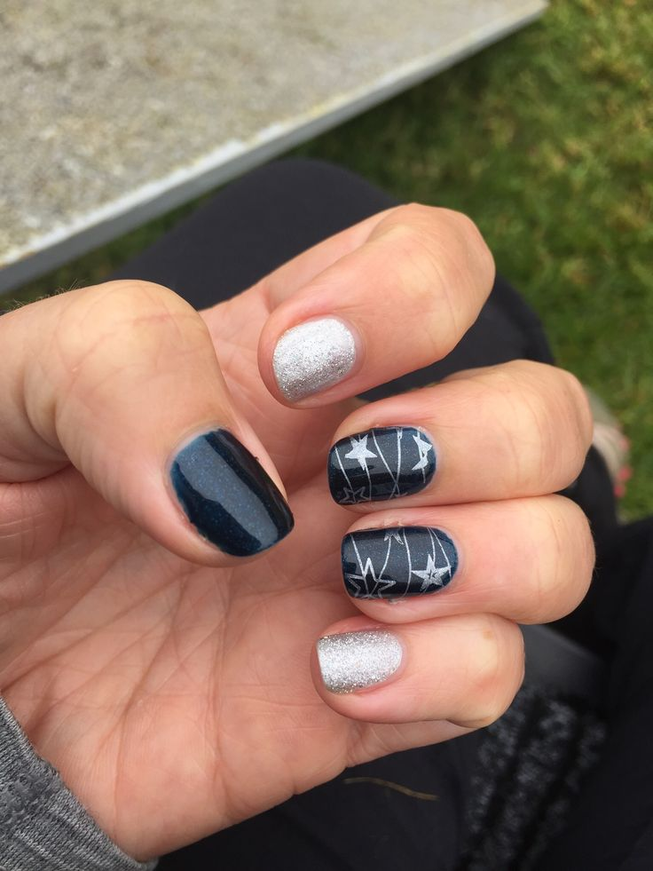 Shellac in Midnight Swim and Silver Chrome with Ice Vapour overlay. Your Cosmetics stamping.