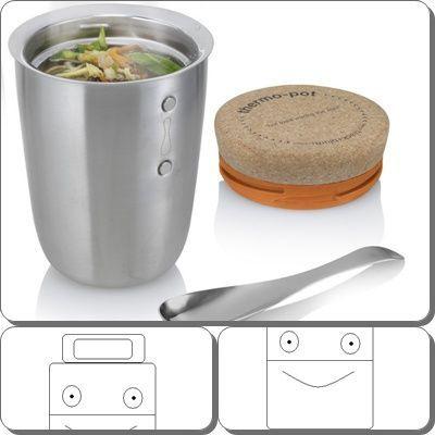 Henkelmann-Lunchtime Thermo Speisebehälter Speisegefässe Brotdosen Edelstahl Lebensmittelbehälter Thermoskannen Essen auf Rädern Trinkflaschen Edelstahl - Thermobehälter 0,55 L Edelstahl UNIVERSAL mit Löffel