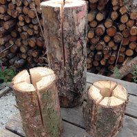 23cm Scandinavian Eco Torch Portable Log Fire - Rustic Finish