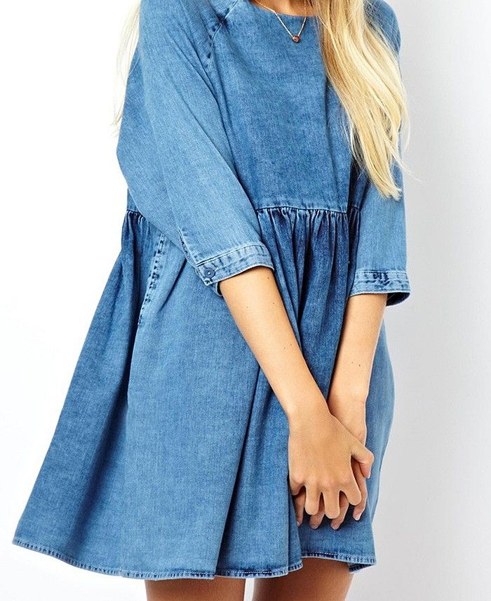 Denim Smock Dress via @WhoWhatWear