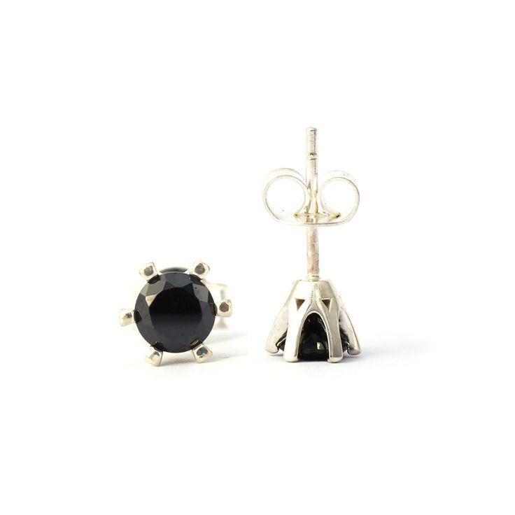 Countess Earrings in sterling silver and Black Garnet - Kate McCoy | Handmade from sterling silver these beautiful six prong crown style settings feature round diamond cut black garnet gemstones.