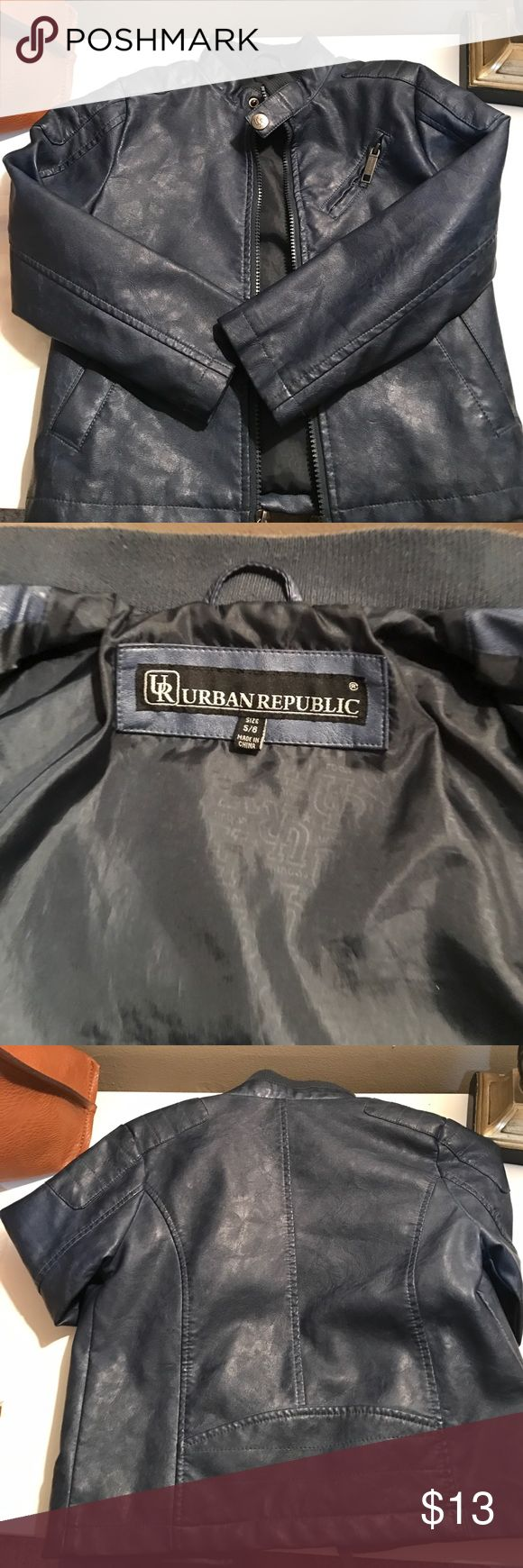 Boys Leather Faux Leather Jacket Like new wore for Easter 🐣. The collar show wear but can be improved. Urban Republic Jackets & Coats
