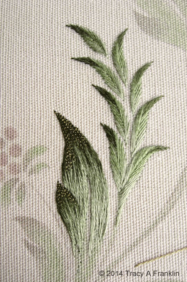 embroidered printed fabric leaves