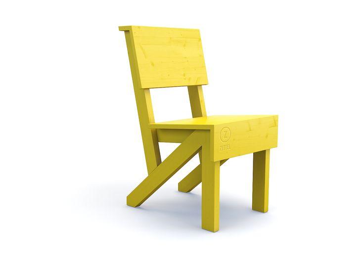 Eetstoel - Zittel. Door de hogere zit kan iedereen actief deelnemen aan het diner. Zie je jezelf al uitgebreid tafelen met je hele familie of je vrienden? Bij Zittel© vinden we hem te gek in het geel. Hij is mooi in combinatie met de Zittel© eettafel.