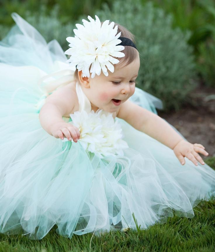 ISABELLA Flower Girl Tutu Dress Set, Includes Halter Top Tutu Dress, Flower Clip and Lace