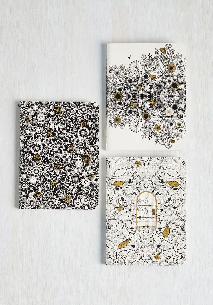 Color Me Vine Journal Set. Part the tallest hedges and enter the world of Johanna Basfords secret garden every time you jot in these journals by Chronicle Books. #multi #modcloth