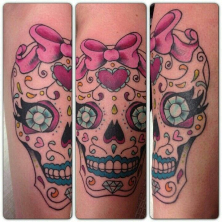 My Super Girly Sugar Skull Tattoo. :)