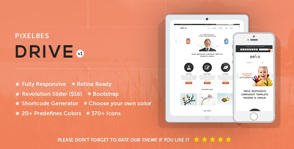 Please check out our awesome theme...and share your thoughts...  http://themeforest.net/item/drive-multipurpose-wordpress-theme/6407573?ref=Pixel8es