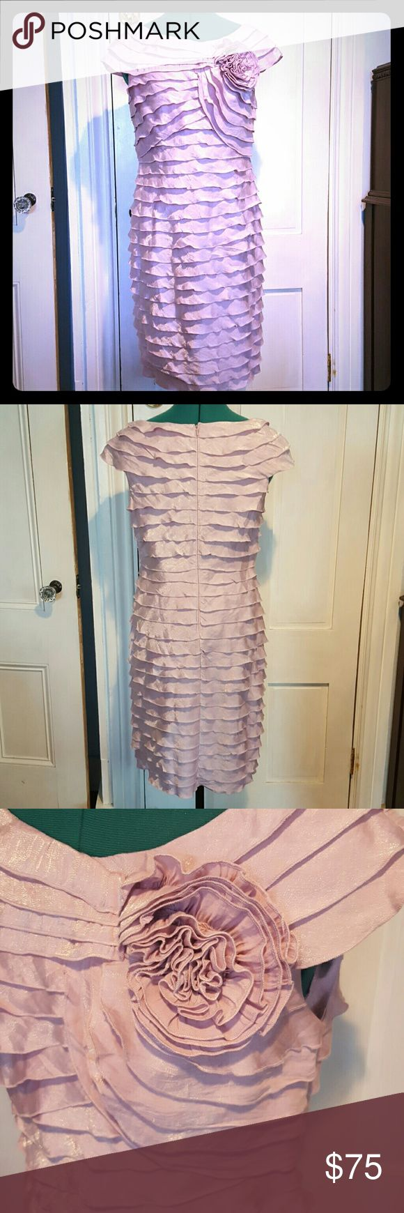 Ruffled cocktail dress Beautiful lavender cocktail dress. Knee length, like new condition. Fits true to size. Adrianna Papell Dresses