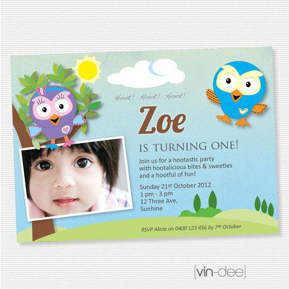 Hoot and Hootabelle Birthday Invitation with Photo - DIY Printable on Etsy, $18.00 AUD