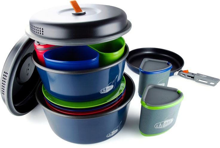 GSI Outdoor Bugaboo Camper Cook set. 4 plates, bowls, mugs, lids, a 2 liter pot w/lid, 3 liter pot w/ lid, a fry pan, pot gripper, and stuff sack (that doubles as wash basin or sink)