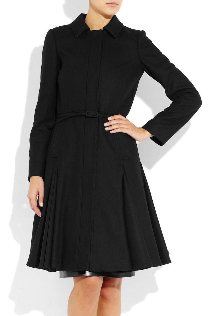 Black Flared Felt Patch Coat (On Sale)